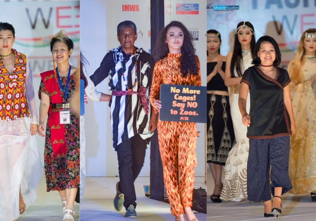 Designer Nana Gona, Adil Hussain and designer Techi Yapar at North East India fashion Week 2016