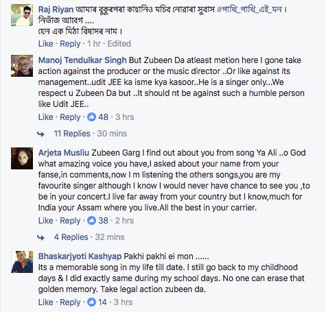 Zubeen Facebook Comment
